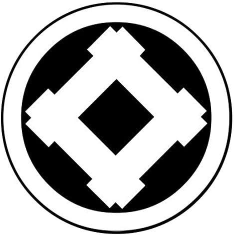 家紋シール 「丸に角立井筒」6枚入 男性紋・女性紋・子供サイズ・黒地用・白地用 貼付け家紋 着物用 KOM139