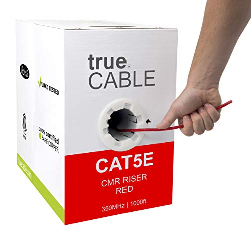 Cat5e Riser (CMR), 1000ft, Red, 24AWG 4 Pair Solid Bare Copper, 350MHz, ETL Listed, Unshielded Twisted Pair (UTP), Bulk Ethernet Cable, trueCABLE
