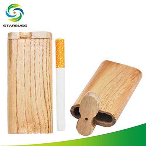 ️ Yu2d ❤️❤️ ️Manual Wood Lid Slide Top Portable Cigarette Box Perfect GIF