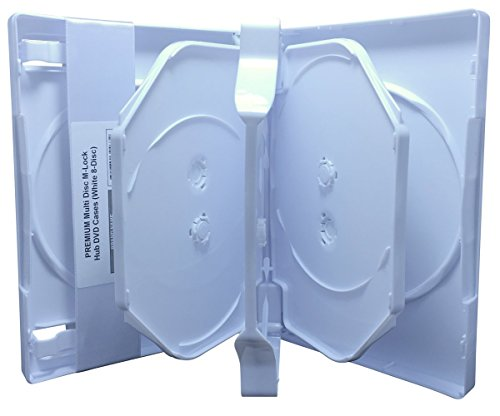 CheckOutStore (5) Premium Multi Disc M-Lock Hub DVD Cases, 8 Disc, White
