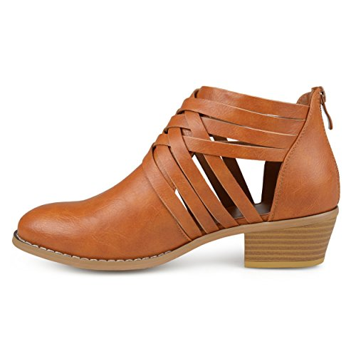 Brinley Faux Booties Womens Wood Stacked hnChB89hXu Cross Camel Criss Leather Heel PzrAxqP0Uw