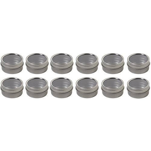 Silver Metal Steel Tin Flat Container with Tight Sealed Clear Lid - .50 oz (12 Pack)