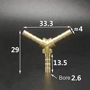 NFLOBD 5 Piezas Colocaci/ón de Espiga de 3 V/ías Conector de Conexi/ón de Manguera de Espiga de Lat/ón para Tuber/ía de Gas de Aceite de Aire Comprimido Color : L 2 Way, Size : 10mm