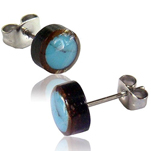 Earth Accessories Organic Shell Stud Earrings surrounded by Coconut Shell - Abalone, Mother of Pearl, and ()
