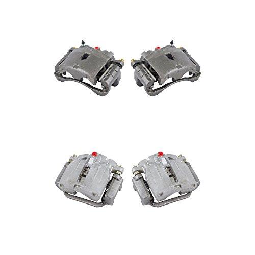 4 FRONT Ceramic Brake Pads Kit Performance Grade Semi-Loaded Powder Coated Red Caliper REAR