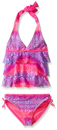 Vigoss Big Girls' Love Is in the Air Two Piece Ombre Tiered Tankini Swimsuit, Barbie Pink, 10/12