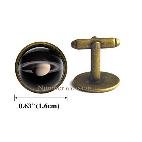 Dome Stud Cufflinks - Yijianxhzao Saturn Cufflinks,Planet Saturn Cuff Links,Solay System Planet Saturn Picture Studs,Space Nebula Jewelry,Glass Dome Jewelry,Cabochon,BV248 (V2)