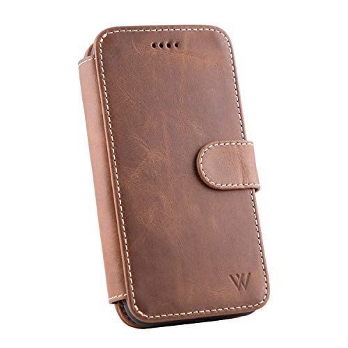 Wilken iPhone 11 Leather Wallet Case with Detachable Phone Case | Wireless Charging Compatible | Top Grain Cowhide Leather (Brown, 11)