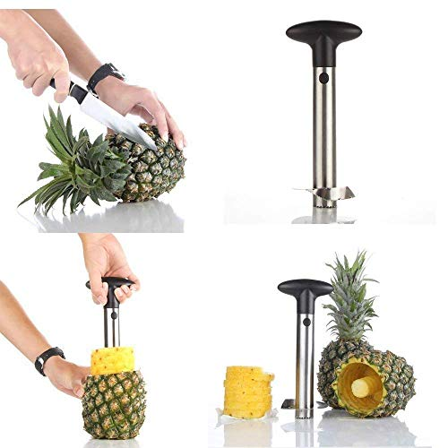 Super Z Outlet Stainless Steel Pineapple Corer Slicer Peeler [Upgraded, Reinforced, Thicker Blade] for Diced Fruit Rings All in One Pineapple Tool Peeler
