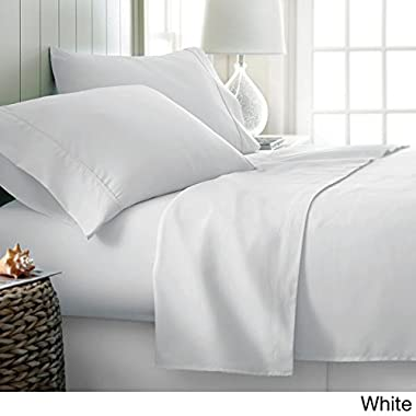 Linenaffairs Supreme Quality White Solid 4 PCs Sheet Set {(1) Fitted Sheet{+15  Pocket Depth},(1) Flat Sheet & (2) Pillow cover} Queen Size 800-Thread-Count