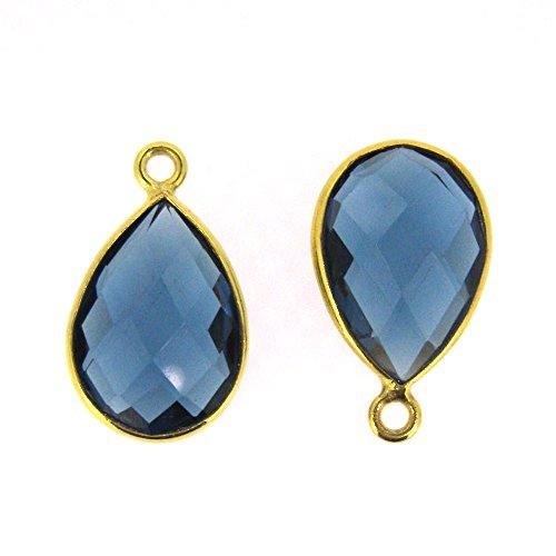 Bezel Gemstone Pendant-Small Teardrop Charm-Gold Plated Bezel Frame- Blue Iolite Quartz-14mm (2 pieces) - Teardrop Frame
