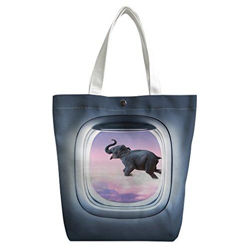 Violetpos Benutzerdefiniert Canvas Handtasche Einkaufstaschen Umhängetasche Schultasche Lunch-Tasche Magisches Elefant Fliegen Flugzeug Fenster dNzAkvn