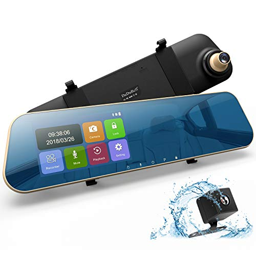 Mirror Dash Cam, DuDuBell 4.3″ Car Dash Camera Touch Screen 1080P 290° Wide Angle Backup Camera, Dual Dashboard Recorder with 6G Enhanced Night Vision, HDR