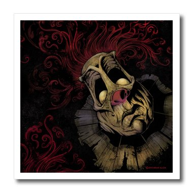 3dRose Dark, Evil, Clown, Illustration - Creepy Clown with Red Hair - 8x8 Iron on Heat Transfer for White Material (Creepy Clowns Pictures)