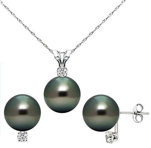 14k White Gold 1/11cttw Diamond 8-8.5mm Black Tahitian Cultured Pearl Pendant and Stud Earrings Set