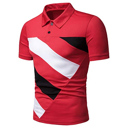 POQOQ Tops Blouse T Shirts Polo Men's Casual Slim Fit Stripe Patchwork Short Sleeve Polo Fashion T-Shirts S -