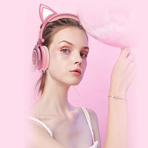 Isightguard Kids Headphones, Wired Headphones On Ear, Cat Ear Headphones with LED for Girls, 3.5mm Audio Jack for Cell Phone,Pink by isightguard (Image #6)