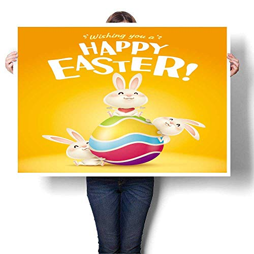 SCOCICI1588 Modern Art Picture Colorful Canvas Print Easter Easter Bunnies and Egg in Plain Background Wide Copy Space for Text Painting,28
