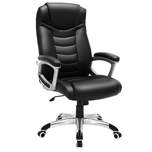 41Oe b z63L. SS500 Alta calidad - Cubierta hecha de PU, robusto y fácil de limpiar; asiento tapizado con relleno de esponja extragruesa, con buena elásticidad y cómodo, resistente a la deformación; ruedas de poliuretano, apenas hacen ruido Altura total: 110.5-120 cm, Respaldo: altura de aprox. 67 cm, Diámetro de la base: aprox. 70 cm, Asiento: aprox. 55 cm x 51.5 cm, Altura del reposabrazos: 68-77.5 cm, Altura regulable del asiento: aprox. 47-56,5 cm Estable y confiable - Los accesorios principales, como apoyabrazos, bandeja de metal, ruedas y muelle de gas, son mejorados de alta seguridad, han pasado la prueba BIFMA. La base estrella (5 pies) tiene el diámetro de 70 cm, cuya estabilidad es verificada por SGS. La silla puede soportar hasta 150 kg