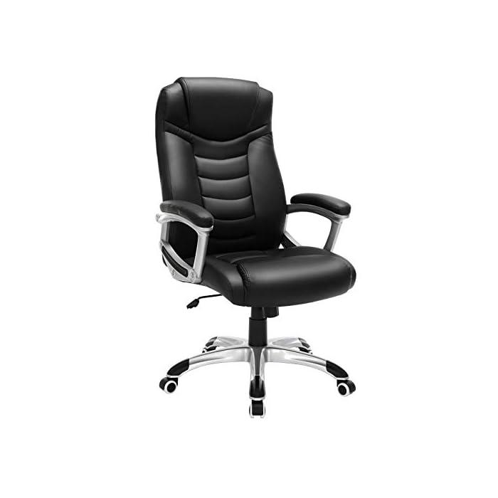 41Oe b z63L Alta calidad - Cubierta hecha de PU, robusto y fácil de limpiar; asiento tapizado con relleno de esponja extragruesa, con buena elásticidad y cómodo, resistente a la deformación; ruedas de poliuretano, apenas hacen ruido Altura total: 110.5-120 cm, Respaldo: altura de aprox. 67 cm, Diámetro de la base: aprox. 70 cm, Asiento: aprox. 55 cm x 51.5 cm, Altura del reposabrazos: 68-77.5 cm, Altura regulable del asiento: aprox. 47-56,5 cm Estable y confiable - Los accesorios principales, como apoyabrazos, bandeja de metal, ruedas y muelle de gas, son mejorados de alta seguridad, han pasado la prueba BIFMA. La base estrella (5 pies) tiene el diámetro de 70 cm, cuya estabilidad es verificada por SGS. La silla puede soportar hasta 150 kg