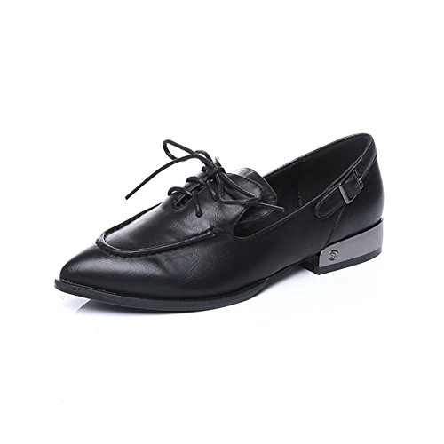Freerun Women's 3-Eyelets Lace-up Pointed Toe Buckle Low Heel Flats Shoes (6 B(M)US,black)
