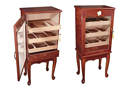 Prestige Import Group - The Belmont Large Humidor w/ Glass Door on Legs - Color: Bronze Mahogany by Prestige Import Group