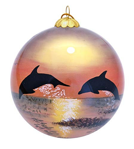 TROPICAL Dolphins at Sunset Collectible Hand Painted Glass Ornament with Gift Box (Glass Dolphin Ornaments)