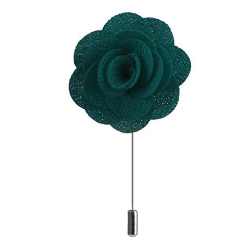 Broche Pin à Smoking Fleur à la Boutonnière Revers Rose en Tissu à la Main pour Homme - Vert