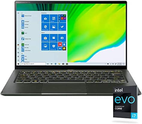 "Acer Swift 5 Intel Evo Thin & Light Laptop, 14"" Full HD Touch, Intel Core i7-1165G7, Intel Iris Xe Graphics, 16GB LPDDR4X, 1TB NVMe SSD, Wi-Fi 6, FPR, Back-lit KB, Antimicrobial, SF514-55TA-74EC"