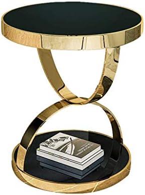 Koop De Nieuwste Mode GWFVA postmoderne roestvrijstalen salontafel, gehard glas bijzettafel, moderne minimalistische bijzettafel, geschikt voor de woonkamer-sofa-zijbalkon (? 48 × 50 cm).  1XMra8C