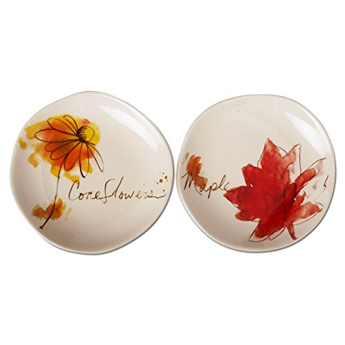 TAG Fall Collection Watercolor Sketches Appetizer Plates, Set of 4