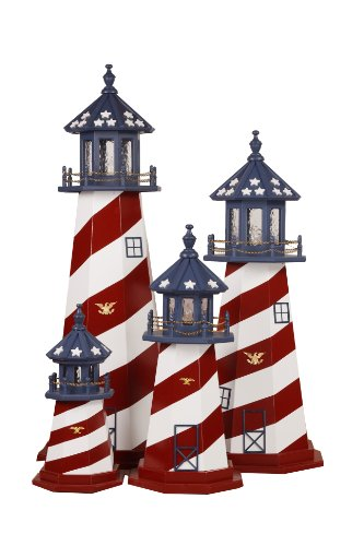 4' Patriotic Lighthouse - lighthouse home decor - 4th of July Decor