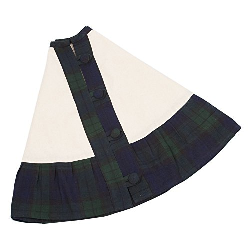 Royal Blue Tree Skirt - Vail Green Blue Plaid 52 Inch Cotton Ruffle Christmas Tree Skirt