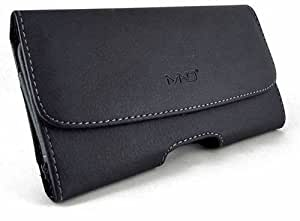 Premium Horizontal Leather Carrying Case Pouch Holster for Asus ZenFone C, with Magnetic Closure, Belt Clip and Belt Loops (Plus Size Fits Phone with Thick Cover Otterbox Defender Case/ Symmetry/ Commuter/ Lifeproof Case on, NOT for Phone without Cover on It )