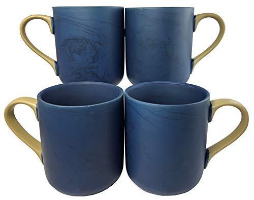 - Colored Marble Coffee Mugs | Set of 4 (Blue) | 15oz Ceramic Mugs | Microwave & Dishwasher Safe