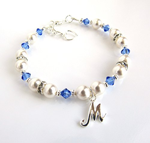 Personalized Girls Bracelets, Birthstone Bracelet for Girls CHOOSE COLOR/CHARM/SIZE Personalized Gifts for (Swarovski Baby Bracelet)