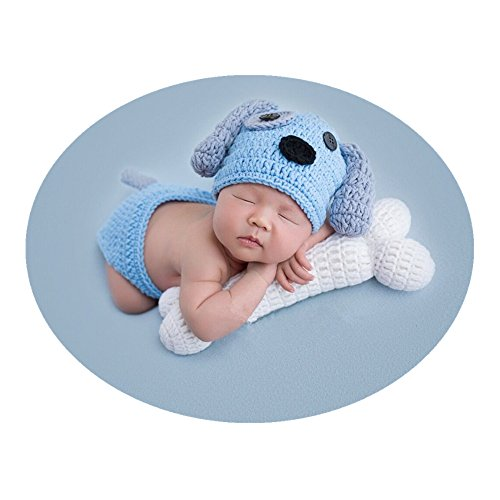 Newborn Baby Photo Props Outfits Crochet Knitted Blue Dog Hat Shorts with Bone Set for Boys Girls Photography Shoot