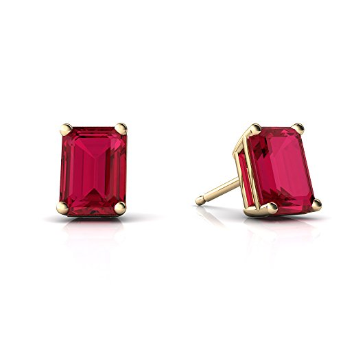 Emerald Ring 14kt Gold Jewelry (14kt Yellow Gold Lab Ruby 7x5mm Emerald_Cut Emerald-Cut Stud Earrings)