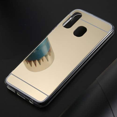 電話用BOYUHIIシリコン保護ケース ギャラクシーA40用超薄型電気メッキミラーアクリルTPU保護ケースバックカバー(ゴールド) ATCYE (Color : Gold)