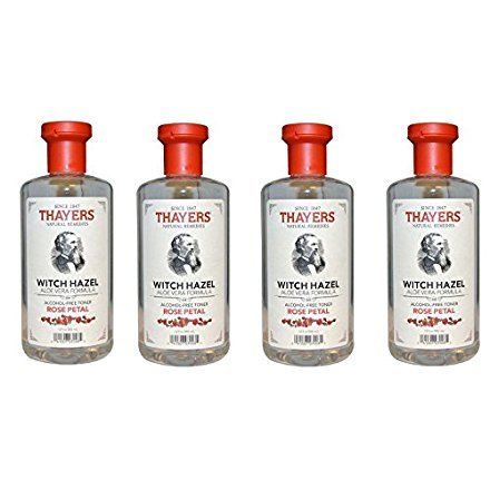 THAYERS Alcohol-Free Rose Petal Soothing Witch Hazel for Face & Skin with Aloe Vera Bqrjiw, 4Pack (12 Oz)