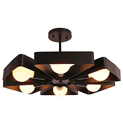 Unitary Brand Black Vintage Barn Metal Floral Semi Flush Mount Ceiling Light with 6 E26 Bulb Sockets 360W Painted Finish