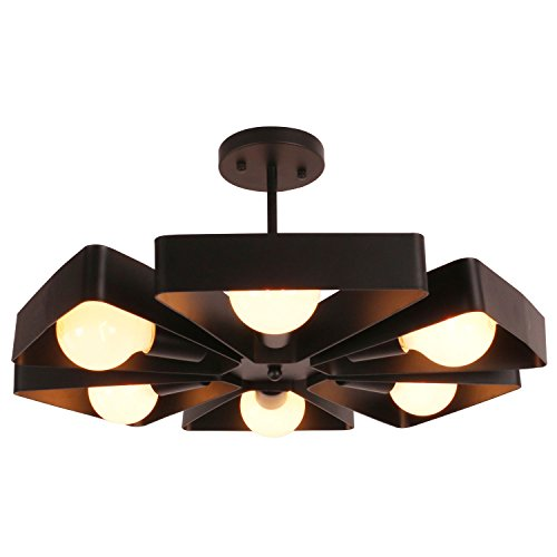 Unitary Brand Black Vintage Barn Metal Floral Semi Flush Mount Ceiling Light with 6 E26 Bulb Sockets 360W Painted Finish - Floral Ceiling Fixture