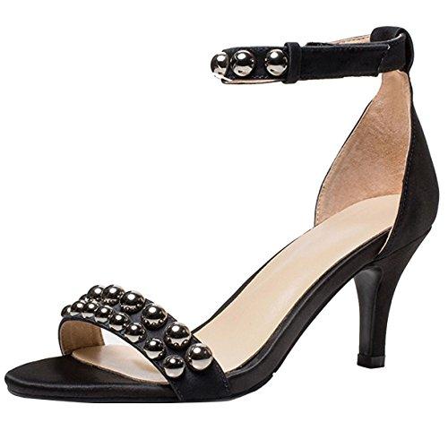 Schwarz 7cm JYshoes Femme Cheville Bride 7tFUqAw1