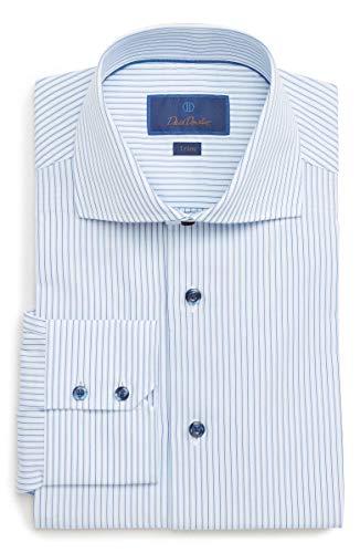 - David Donahue Men's Tonal Framed Stripe Trim Fit Dress Shirt (Blue-White, 16.5 x 32/33)