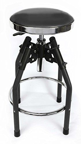 WORKPRO W112010A Heavy duty Adjustable Hydraulic Shop Stool, Black ()