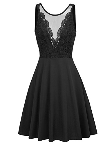 GRACE KARIN Women's Crew Neck Sexy Crochet Lace Skater Wedding Dress M - Backless Dresses Formal