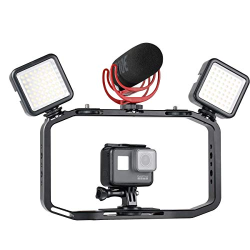 Alician for Handheld Video Rig for DSLR Camera Phone Gopro Vertical Shooting Phone Cage for Canon Nikon iPhone Xs Max X 8 7 Gopro 5 6 7