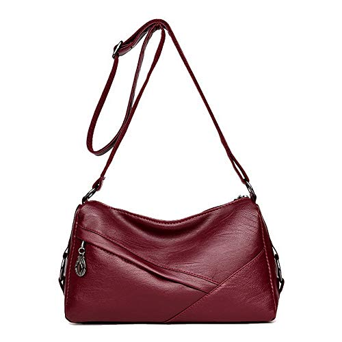 New Special Prada Shoes - AllhqFashion Women's Bags Casual Zippers Shopping Pu Crossbody Bags,FBUBC211716,Claret