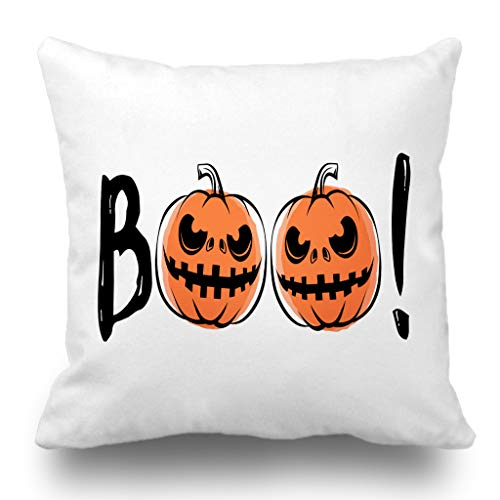 Batmerry Halloween Pillow Covers 18x18 inch, Halloween Sound Grunge Scary Retro Greeting Motivational Quote Party Throw Pillows Covers Sofa Cushion Cover -