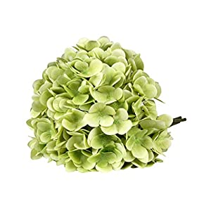 T4U 3 Heads Artificial Silk Hydrangea Flowers Fake Flowers Faux Flowers Bouquet for Flowers Arrangement Wedding Bouquet Table Centerpieces Home Garden Party Decoration (Green) 76